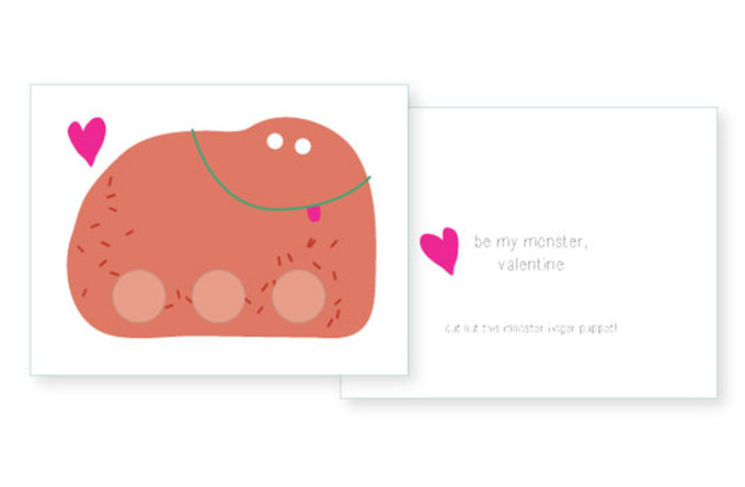 Valentine's Cards – Monster Finger Puppets